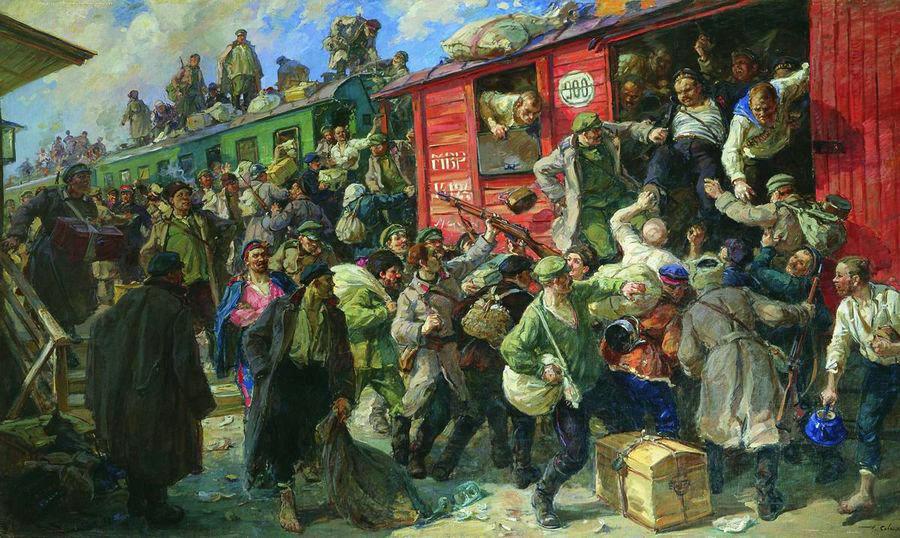 """Г. К. Савицкий, """"Стихийная демобилизация царской армии в 1917 году"""" 1928 г. (Центральный музей вооруженных сил, Москва)"""
