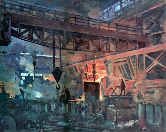 Куприн А. «Завод «Серп и Молот» в Москве. Мартеновский цех. Литье стали». 1931