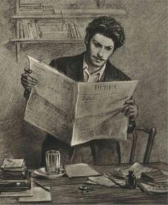 Н. Н. Жуков - И. В. Сталин читает газету «Искра». 1949 год.