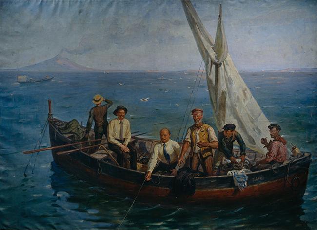 Ленин и Горький с рыбаками на Капри. Картина Ефима Чепцова. 1931 год