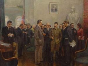 И.В.Сталин беседует с представителями делегаций коммунистических партий, прибывших на VII расширенный пленум ИККИ. Художник И.Вепхваде