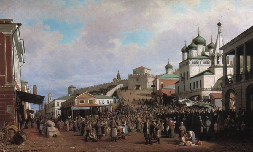 Художник Петр Верещагин Рынок в Нижнем Новгороде 1867