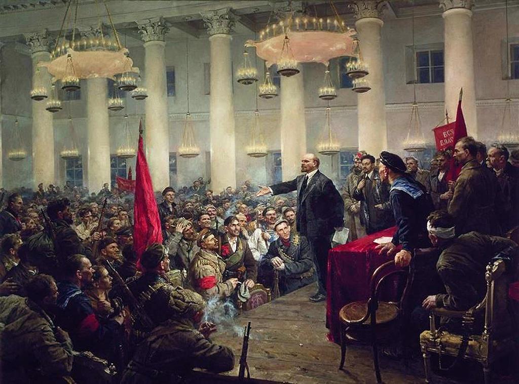 В.Серов. Выступление В.И. Ленина на II Всероссийском съезде Советов