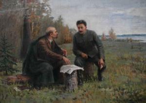 И. Владимиров. В.И.Ленин и И.В.Сталин летом 1917 года.