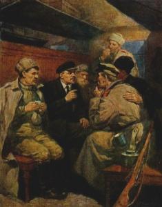 П. Васильев. В.И.Ленин в вагоне поезда по дороге в Петроград.