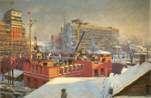 В. Бычков. Строительство Москвы в 1933-1934 годах. 1934