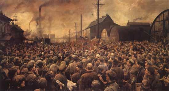 И. Бродский. Выступление В.И.Ленина на митинге рабочих Путиловского завода в мае 1917 года. 1929