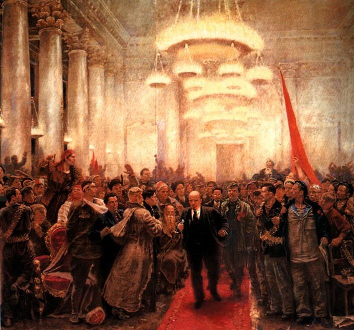 А. Самохвалов. Появление В.И.Ленина на II Всероссийском съезде Советов. 1940