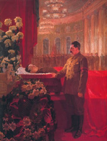 Н. Рутковский. И.В.Сталин у гроба С.М.Кирова. 1934