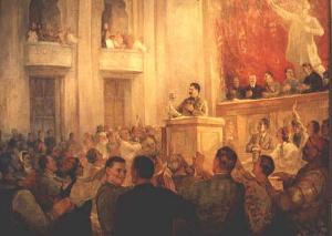 П. Пархет. И.В.Сталин на VIII сессии Верховного Совета СССР.