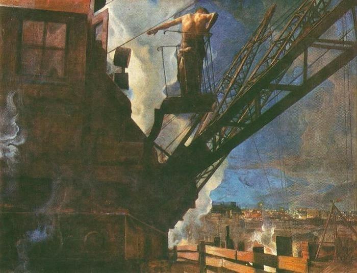 «Ударник Днепростроя». Автор плаката: Исаак Израилевич Бродский, 1932 год.