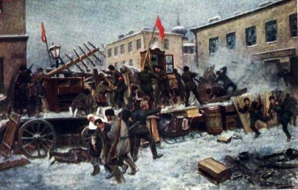 Баррикада на Пресне. И.А. Владимиров 1906 г.