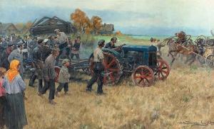 Трактор в деревне, 1925. Худ. Иван Владимиров