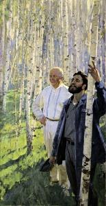 САМСОНОВ Марат Иванович (1925-2013) «Хрущёв и Кастро в берёзовой роще». 1960-е гг.