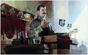 Сварог Василий Семёнович (Россия, 1883 — 1946) «Доклад Сталина о принятии Конституции 1936 года» 1938