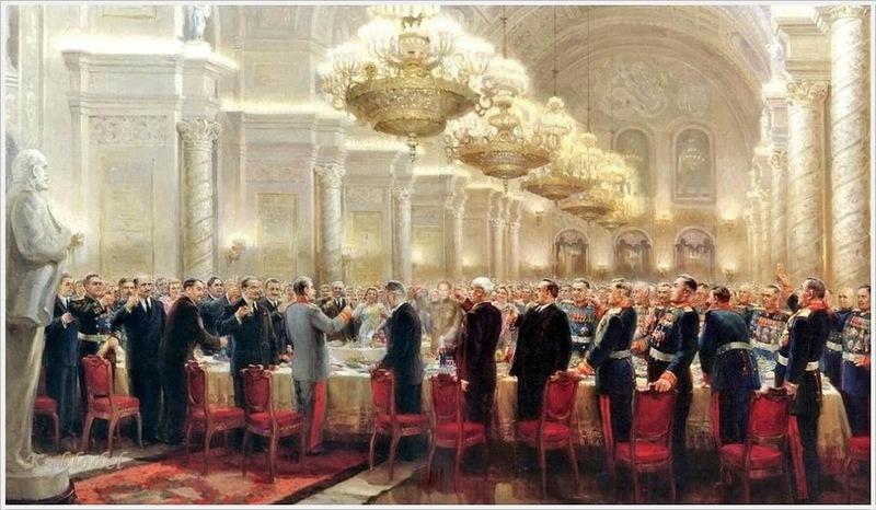 Хмелько Михаил Иванович (Россия, 1919 - 1975) «Тост Сталина «За великий русский народ!» 1949 второй вариант