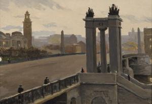 Б. Пыриков. Бородинский мост и Киевский вокзал. 1950