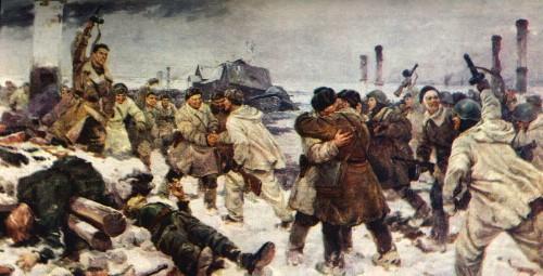 """В. Серов, И. Серебряный, А. Кузнецов """"Прорыв блокады Ленинграда 18 января 1943 года""""."""