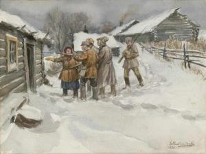 В поисках сбежавшего кулака (1920). Худ. И. Владимиров.