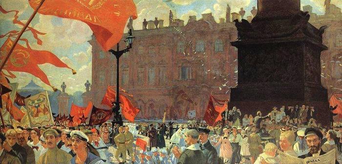"""Б. М. Кустодиев - """"Праздник в честь открытия II конгресса Коминтерна 19 июля 1920 года. Демонстрация на площади Урицкого"""" (1921 год)"""