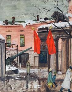 Винокур Владимир Исаакович (Россия, 1927) «Ноябрь. У музея Революции» 1961