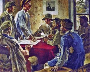 Моравов Александр Викторович (1878-1951) «Заседание комитета бедноты» 1923