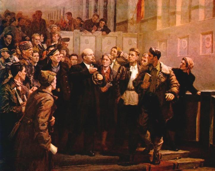 Л. Шиповский. В.И.Ленин среди делегатов III съезда комсомола