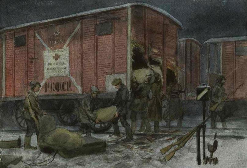 Иван Владимиров. Ночное разграбление вагона с помощью от Красного креста (1922)