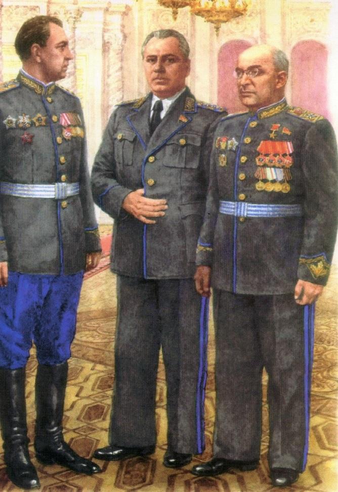 Л.П.Берия, В.Н.Меркулов и В.С.Абакумов на приеме в честь Победы в ВОВ (1945)