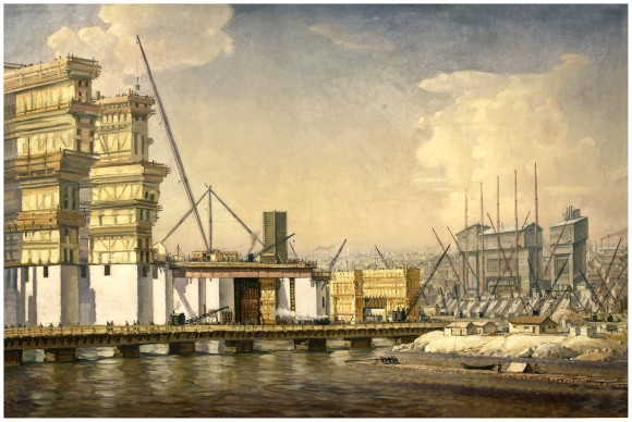 Полотно Константина Федоровича Богаевского с лаконичным названием «Строительство», созданном в 1934 г. и изображающим возведение днепровской гидростанции