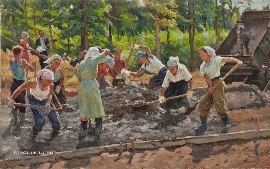 Богатырев Михаил Георгиевич (Россия, 1924 - 1999) «Строительство МКАД» 1958