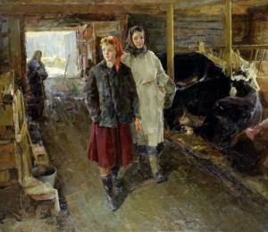 П. Рыбин. На молочной ферме. 1959