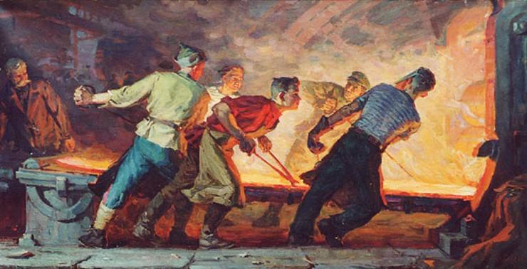 И. Бевзенко. Молодые сталевары. 1961