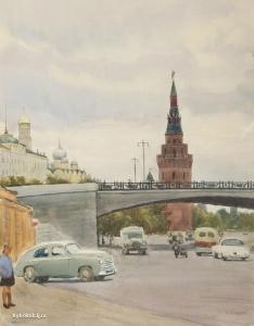 Купецио Ксения Конрадовна (Россия, 1911–1997) «Москва. Каменный мост» 1959
