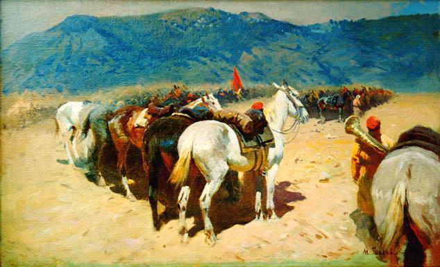 М. Греков. Конница на привале. 29-й Кавалерийский полк в Бухаре.