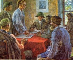 """""""Заседание комитета бедноты"""" (1920) Александра Моравова (1878-1951)."""