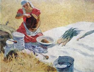 Обрыньба Николай Ипполитович (Россия, 1913–1996) «Обед в поле. Целинный хлеб» 1960