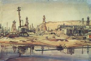 Художник В.К.Богаевский. Бакинские нефтяные промыслы (1930)