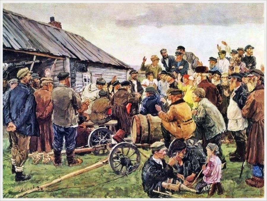 """Пластов Аркадий Александрович (Россия, 1893 - 1972) «Выборы """"Комитета бедноты""""» 1940"""