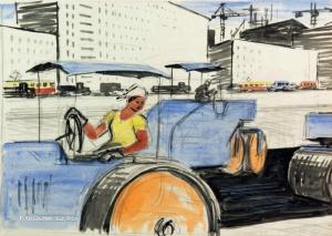 Ройтер Липа Герш-Лейбович (1910-1994) «Москва строится» 1969