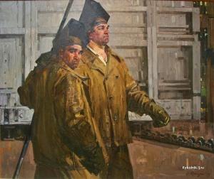Ротницкий Семён Аронович (Россия, 1915-2004) «Сварщики на Кировском заводе» 1969