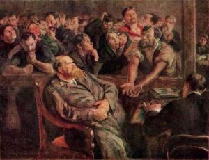 """Художник Николай Иванович Верхотуров (1864-1944), картина """"Расчёт"""" (""""Перед стачкой"""", 1910 год)"""