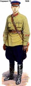 """Приказом НКВД № 396 от 27 декабря 1935 г. была установлена новая форма одежды и знаки различия (теперь уже не по должностям, а по званиям):""""Форма одежды и знаки различия Внутренних Войск МВД СССР. Часть 2"""""""