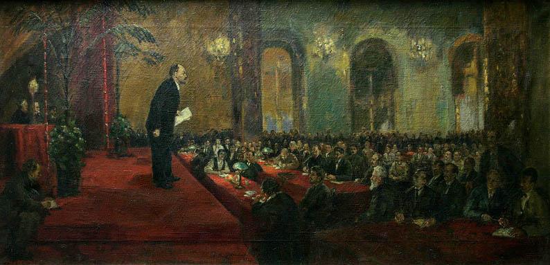 """П. А. Радимов, """"Выступление Ленина на IV Конкрессе Комитерна"""" 1922 г. (эскиз)"""