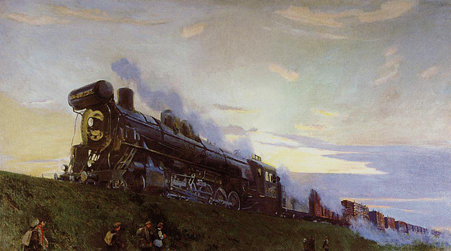 """А. А. Рылов, """"Сверхмощный паровоз"""" 1935 г. (Вологодская картинная галерея)"""