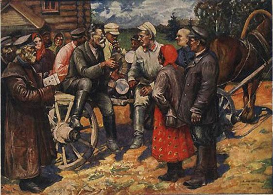Ф. Модоров. М.И. Калинин в деревне. 1928