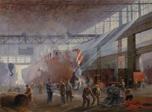 С. Каманин. Строительство буксирных судов. 1953