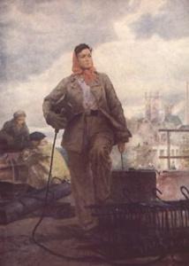 Е. Харитоненко. Электросварщица. 1959