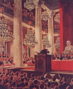 """А. Герасимов. """"Есть метро!"""" Выступление И.В.Сталина в Колонном зале. 1949"""