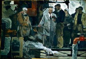 Ф. Голубков. Хрущев на заводе. 1950
